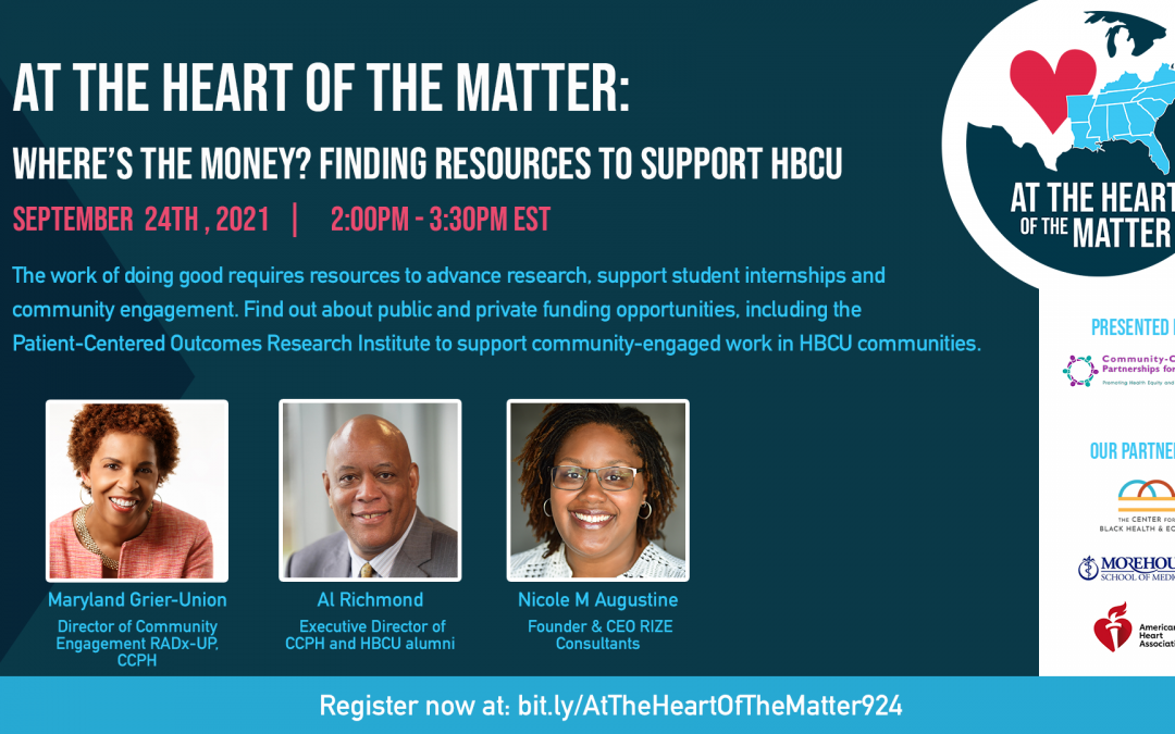 At the Heart of the Matter: Where's the money? Finding resources to support HBCU community-engaged work